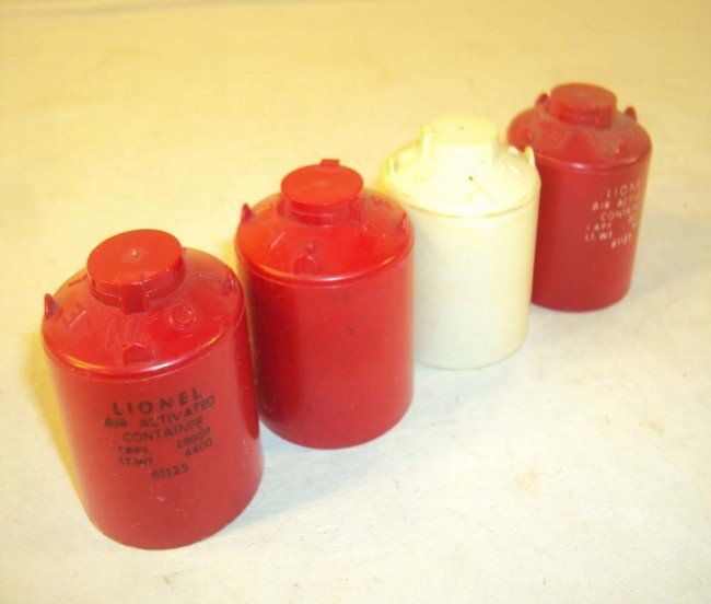 6: ABT: 4 Lionel Canisters w/Scarce Red/Black-Letter Va