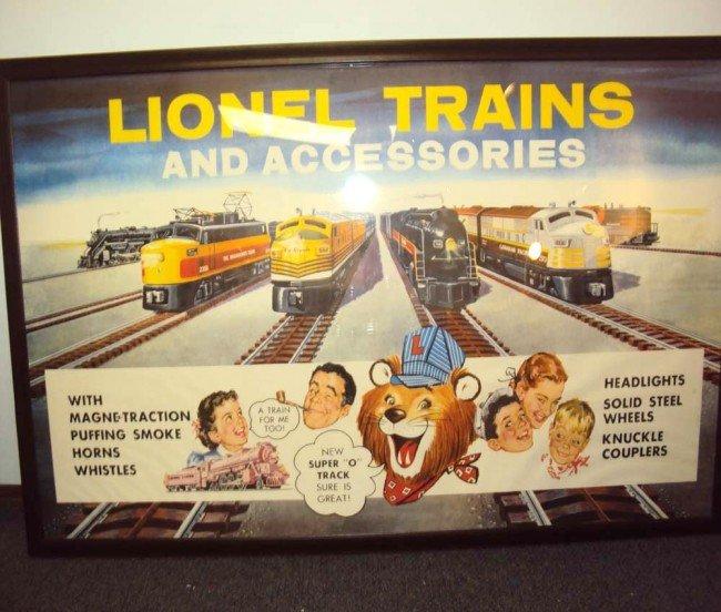 200: ABT: Lionel 1957 Large Super O Dealer Framed Poste
