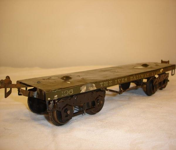 16: ABT:Nice Ives #196 Olive Green Wide Flat Car