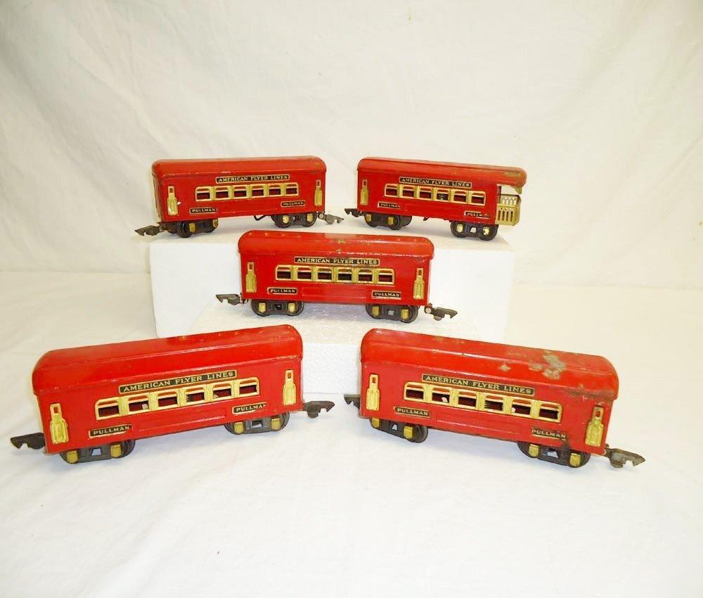 6: ABT: 5 AF O Gauge #3100 Series Red Passenger Cars