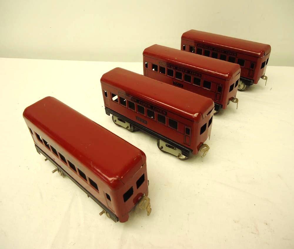 16: ABT: 4 Nice AF #1123 O Gauge Red Passenger Cars