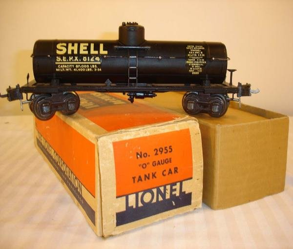 318: ABT: Nice Lionel #2955 Black Shell Tank Car/OB+