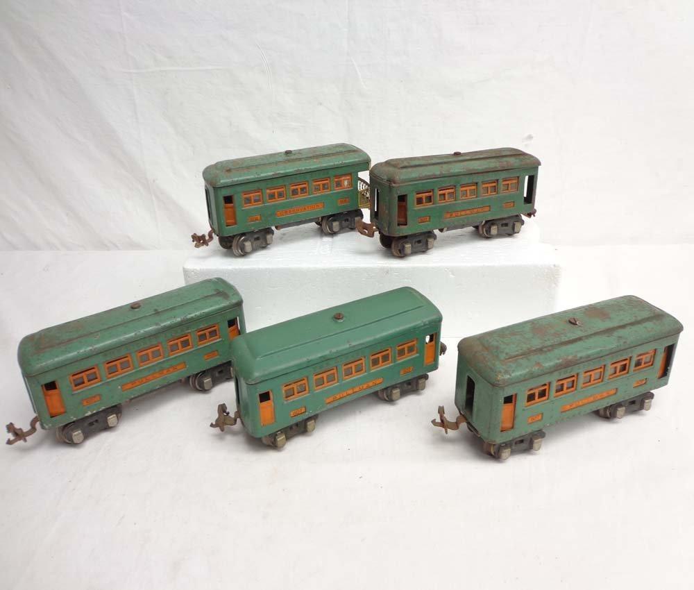 8: ABT: 5 Lionel #607/608 Peacock Green Passenger Cars
