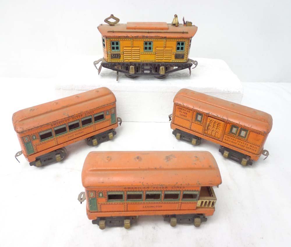 18: ABT: AF #3112 Electric & 3 Orange Passenger Cars