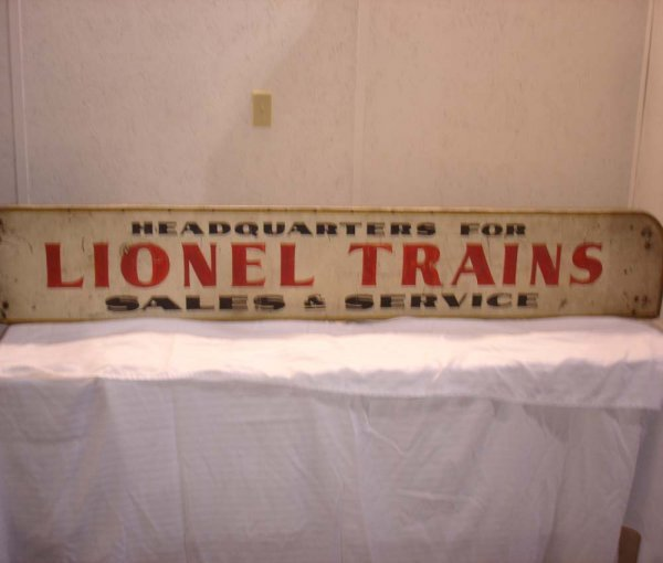 """290: ABT:1920s """"Headquarters for Lionel Trains"""" Sign"""