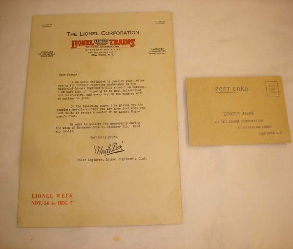 "311: ABT: ""Uncle Don"" Lionel Engineer Letter & Postcard"