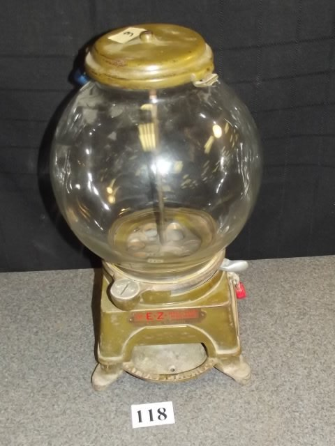 ANTIQUE FOOTED EZ BALL GUM MACHINE BY AD LEE CO