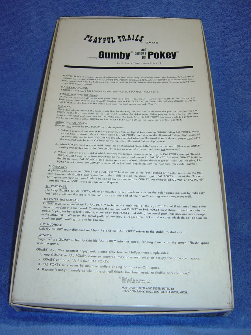 1968 HAPPY TRAILS GUMBY & POKEY BOARD GAME - 2