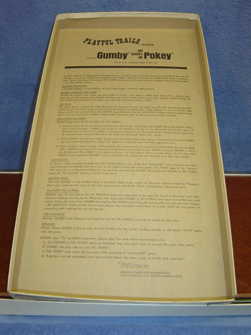 1968 HAPPY TRAILS GUMBY & POKEY BOARD GAME - 3