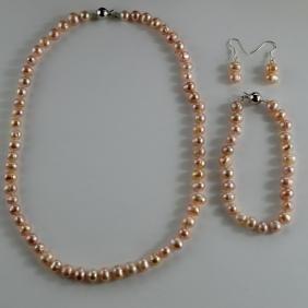 Pink Pearl Jewelry Set