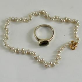 Silver Pearl Bracelet & Rutilated Crystal Ring
