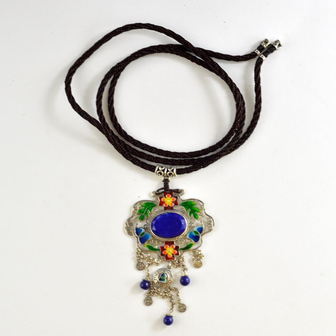 Cloisonne Lapis Lazuli pendant Necklace