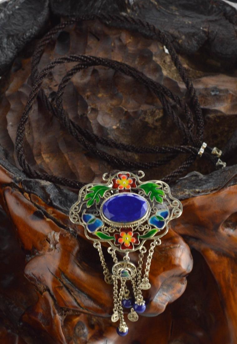 Cloisonne Lapis Lazuli pendant Necklace - 2