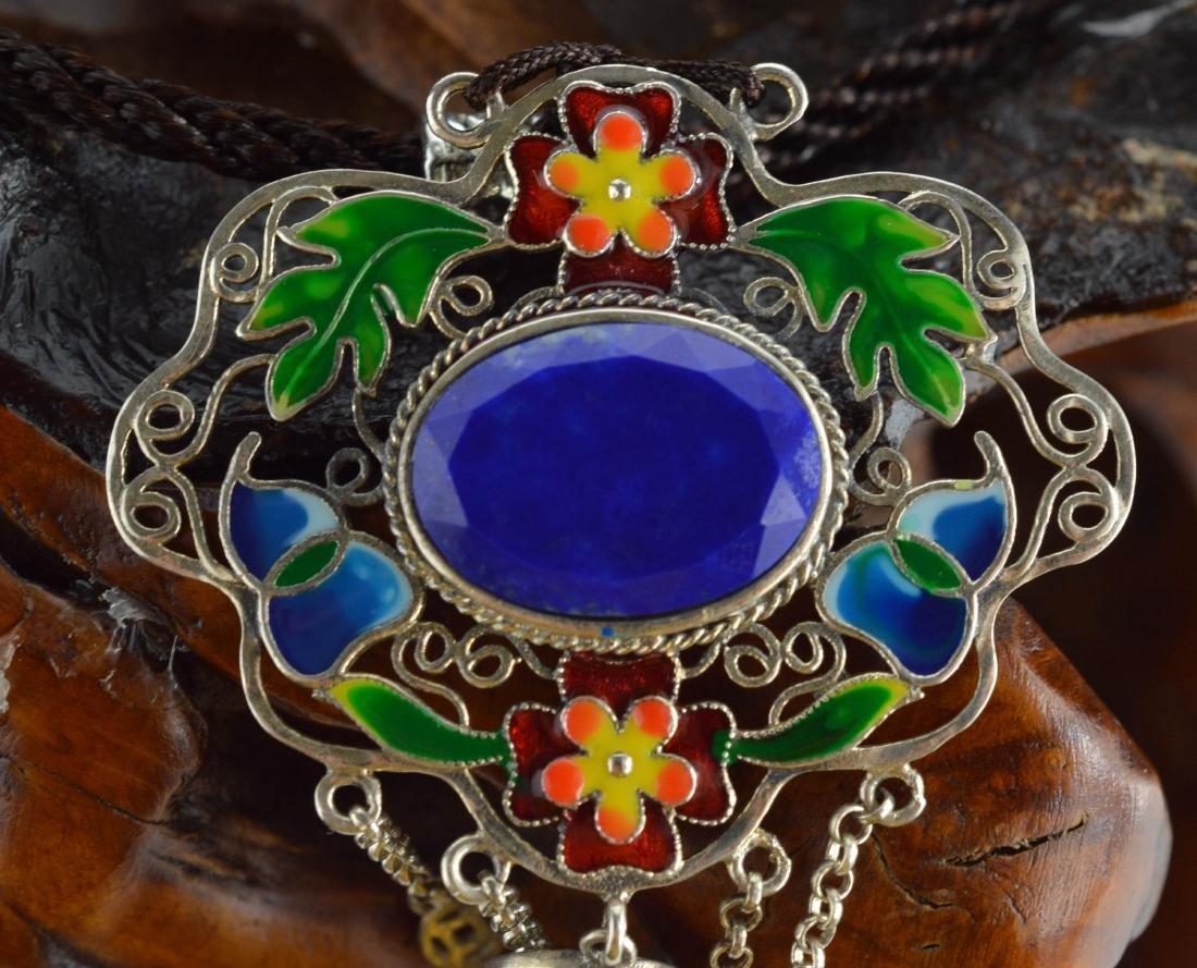 Cloisonne Lapis Lazuli pendant Necklace - 3