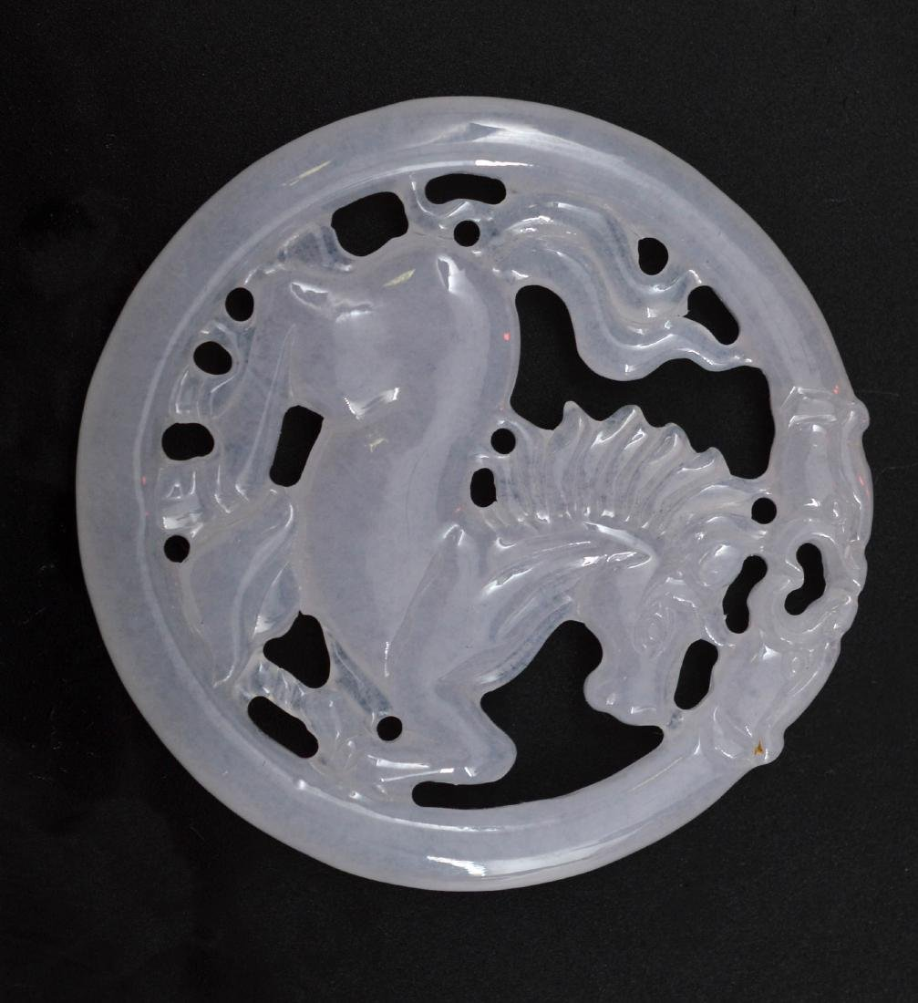 Certified Natural Burmese Ice Jadeite Horse Pendant - 6