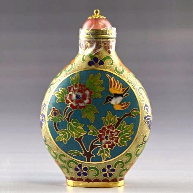 Cloisonne Enamel Snuff Bottle Floral Snuff Bottle