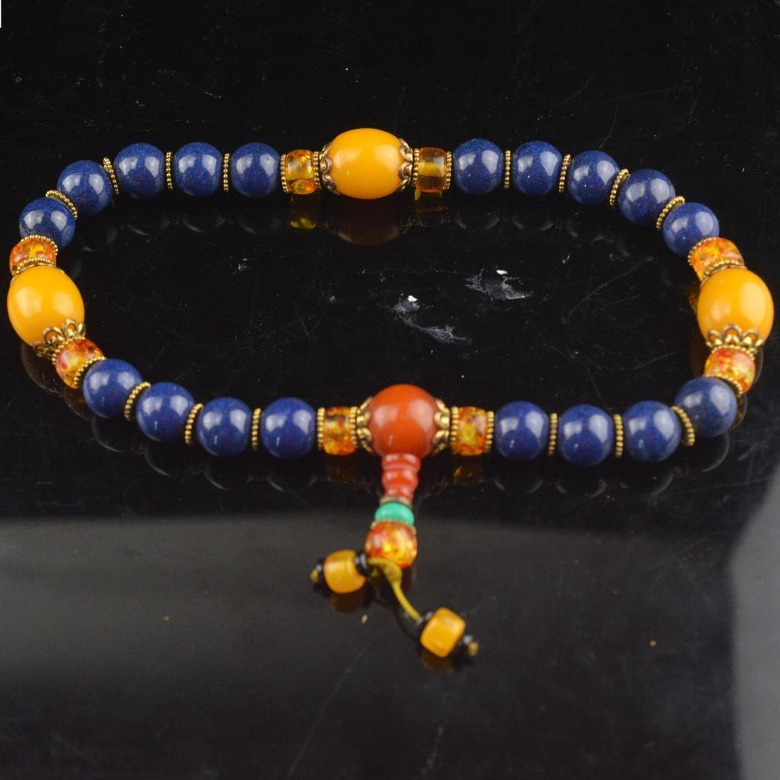 Lapis Lazuli & Amber Bead Wrist Bracelet