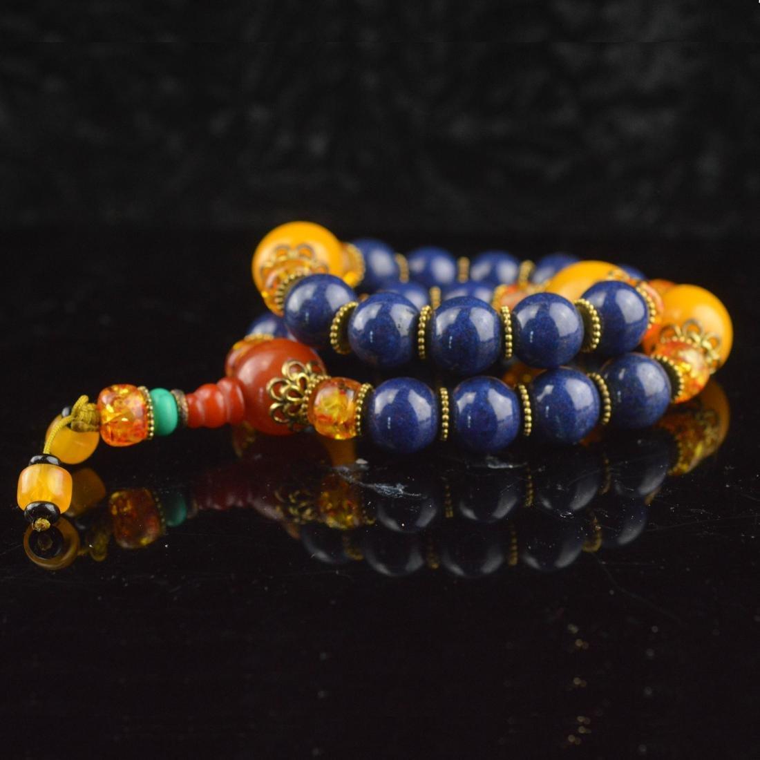 Lapis Lazuli & Amber Bead Wrist Bracelet - 2