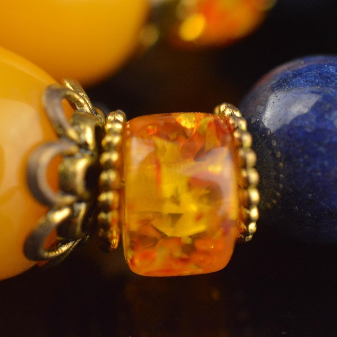 Lapis Lazuli & Amber Bead Wrist Bracelet - 3