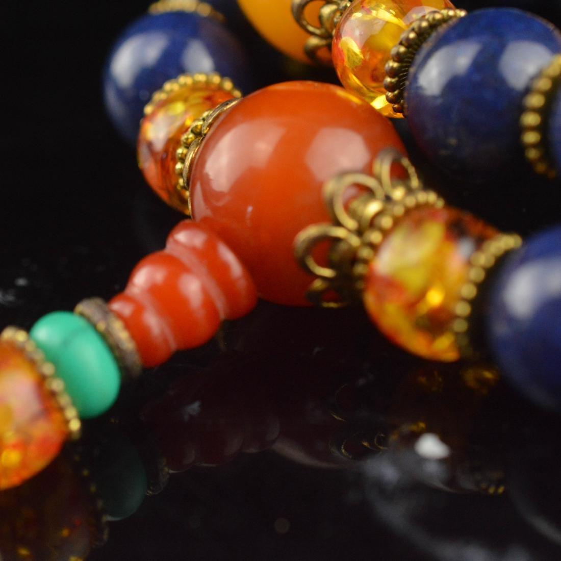 Lapis Lazuli & Amber Bead Wrist Bracelet - 4