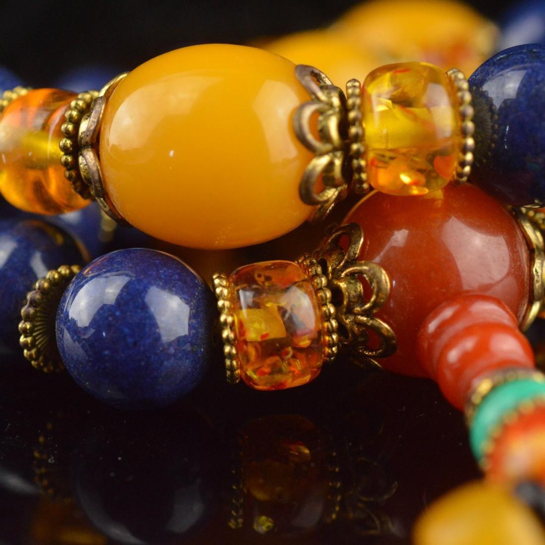 Lapis Lazuli & Amber Bead Wrist Bracelet - 5