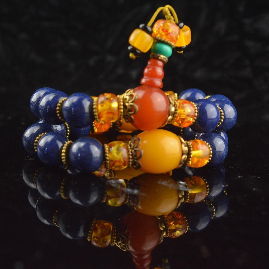 Lapis Lazuli & Amber Bead Wrist Bracelet - 6