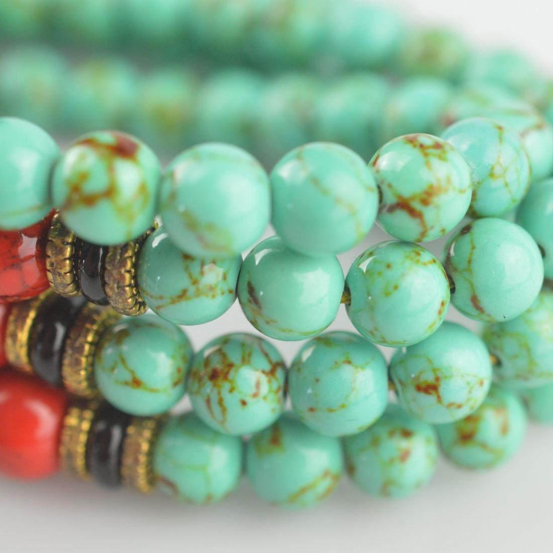 Turquoise Bead Prayer Necklace - 4