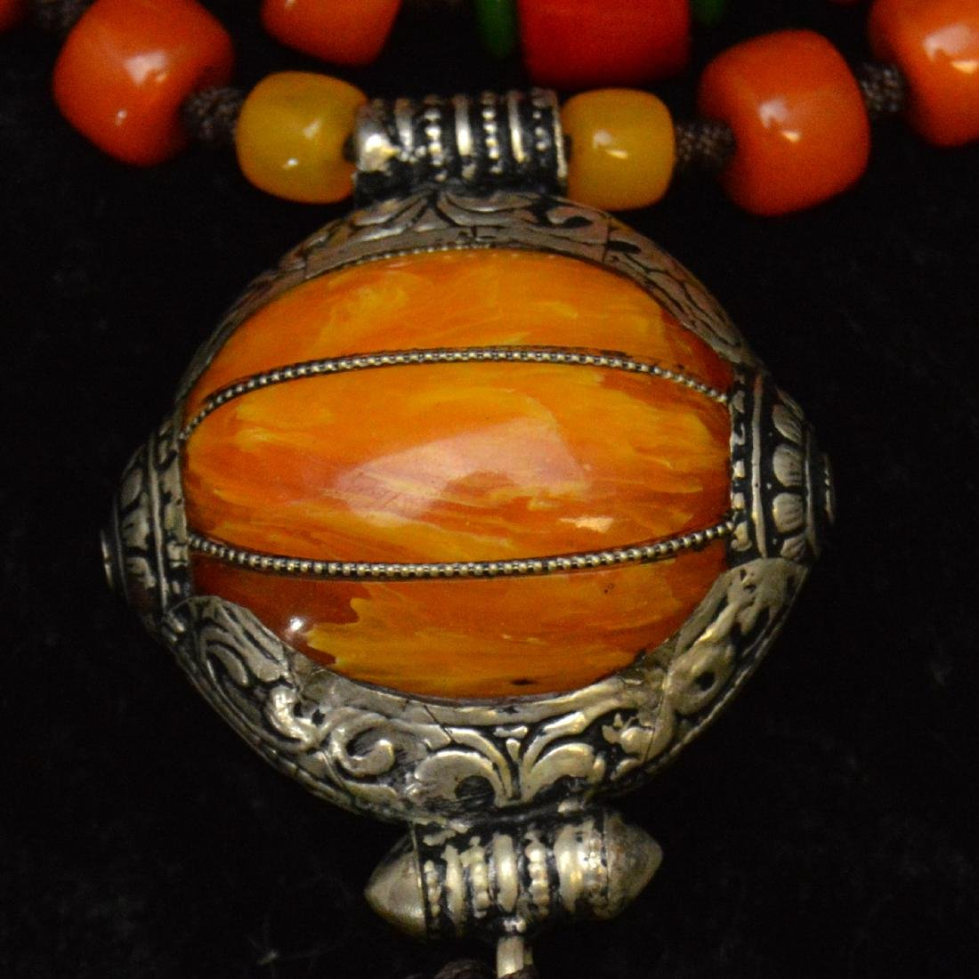 Tibetan Royal Amber Bead Necklace - 2