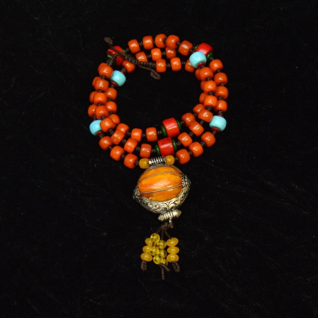 Tibetan Royal Amber Bead Necklace - 5