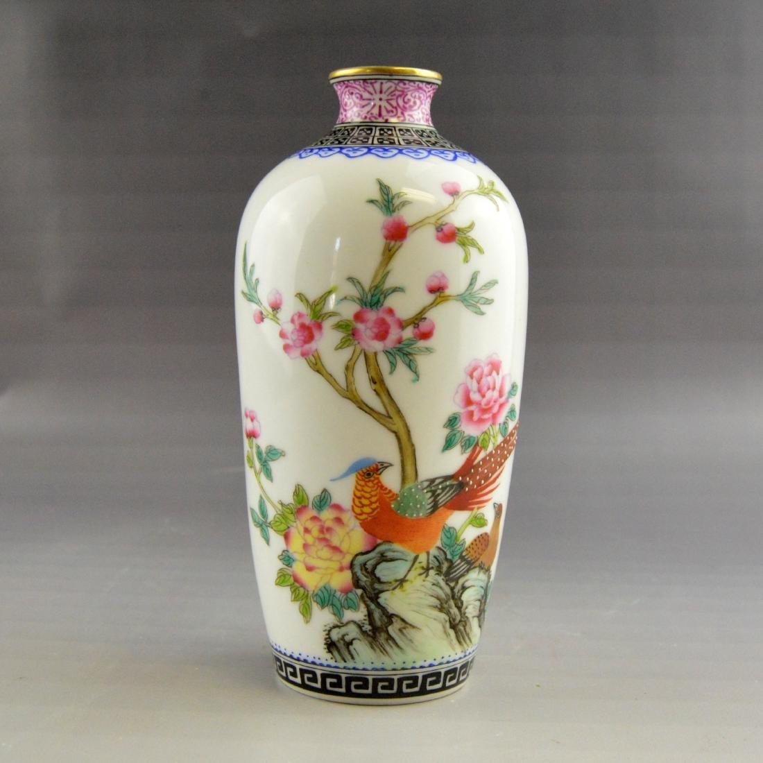 Famille Floral Bird Porcelain Bottle