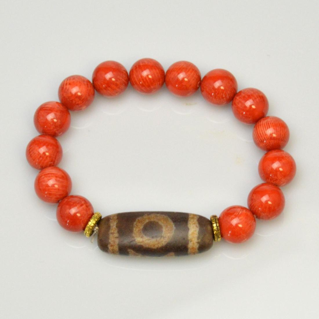 Dzi Bead Red Coral Bracelet