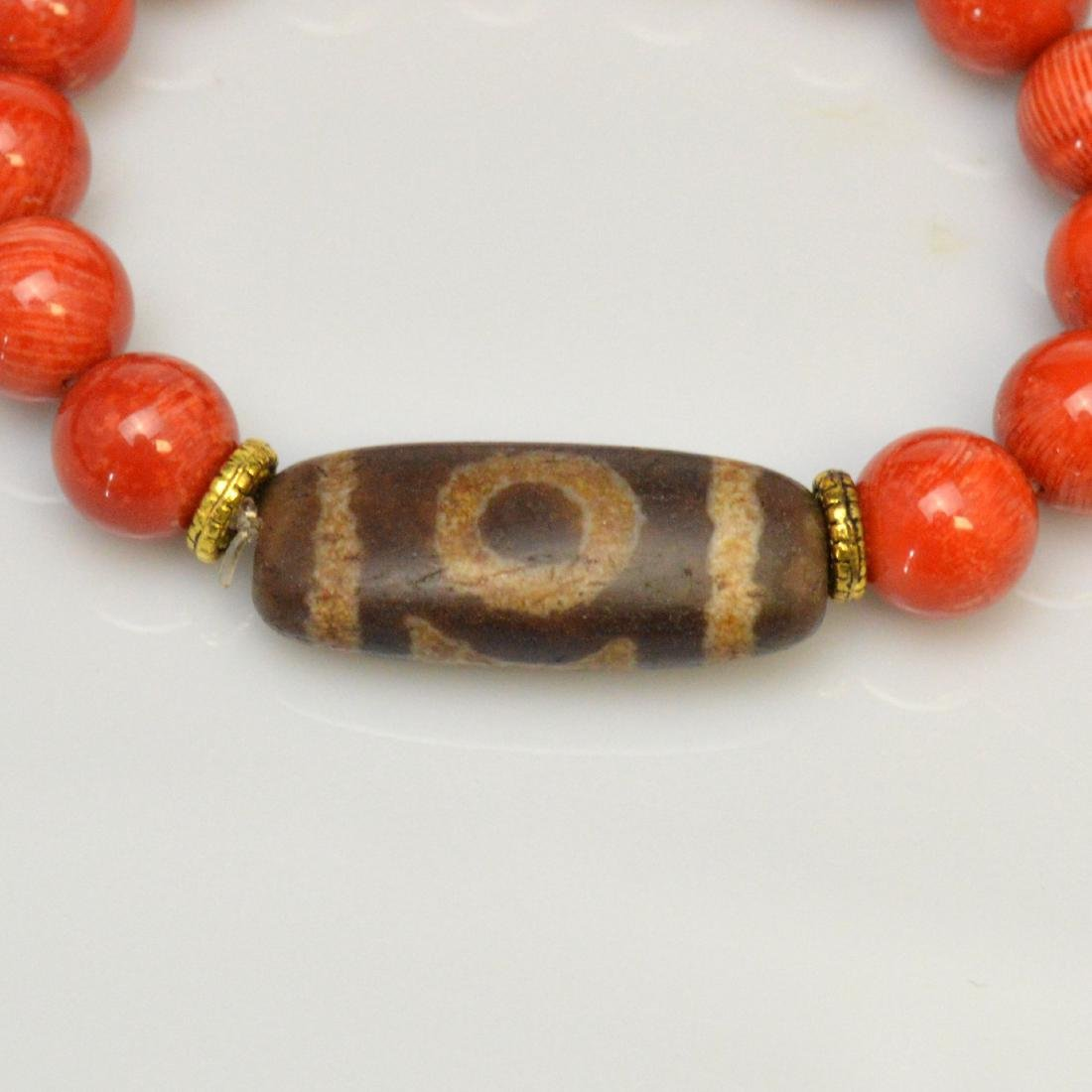 Dzi Bead Red Coral Bracelet - 2