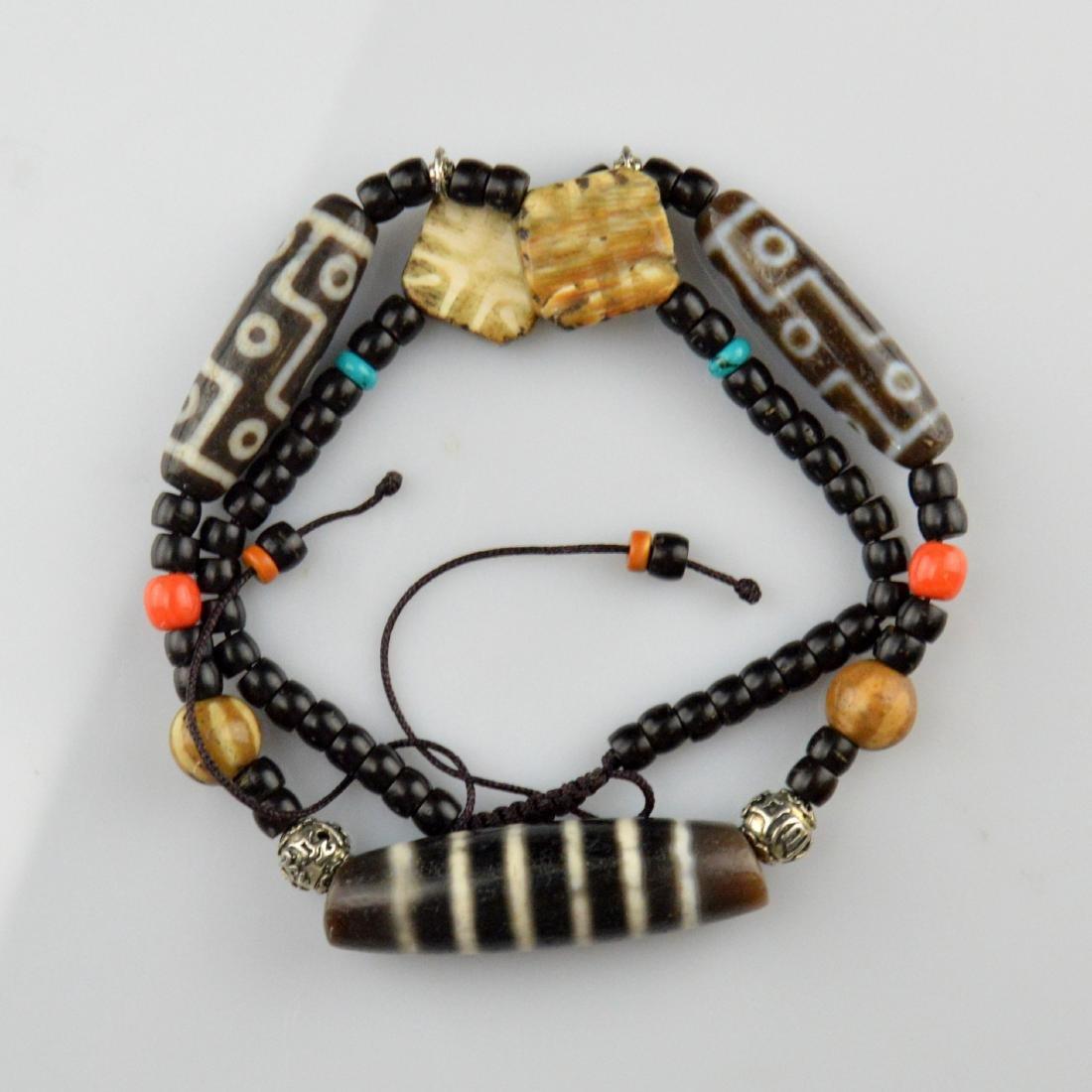 Old Nine Eyed & Striped Dzi Bead Necklace