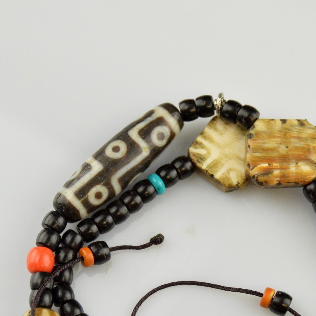 Old Nine Eyed & Striped Dzi Bead Necklace - 3