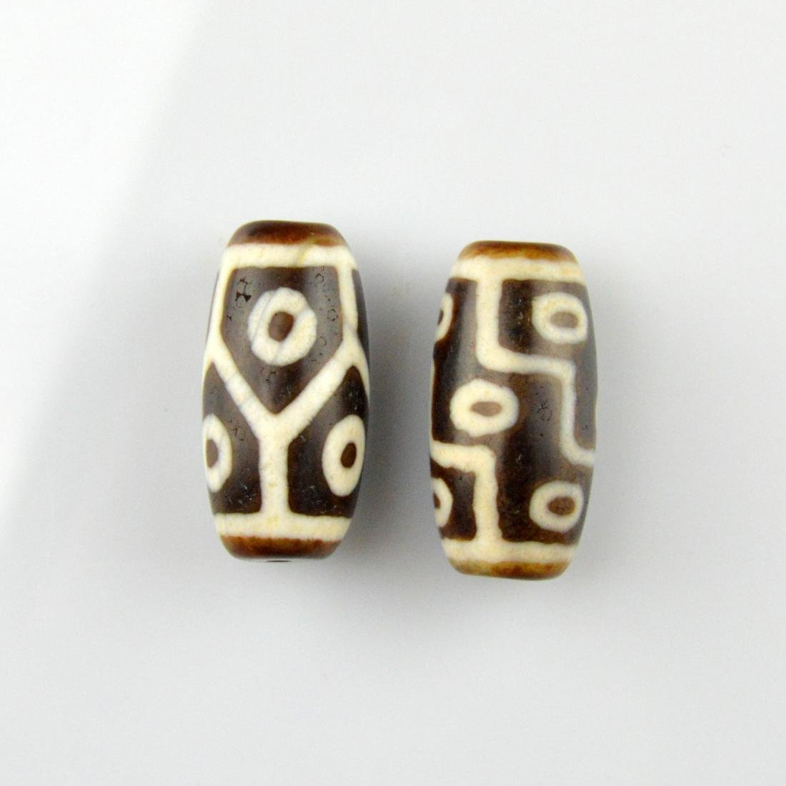 Nine Eye & Six Eyed Dzi Bead Pair