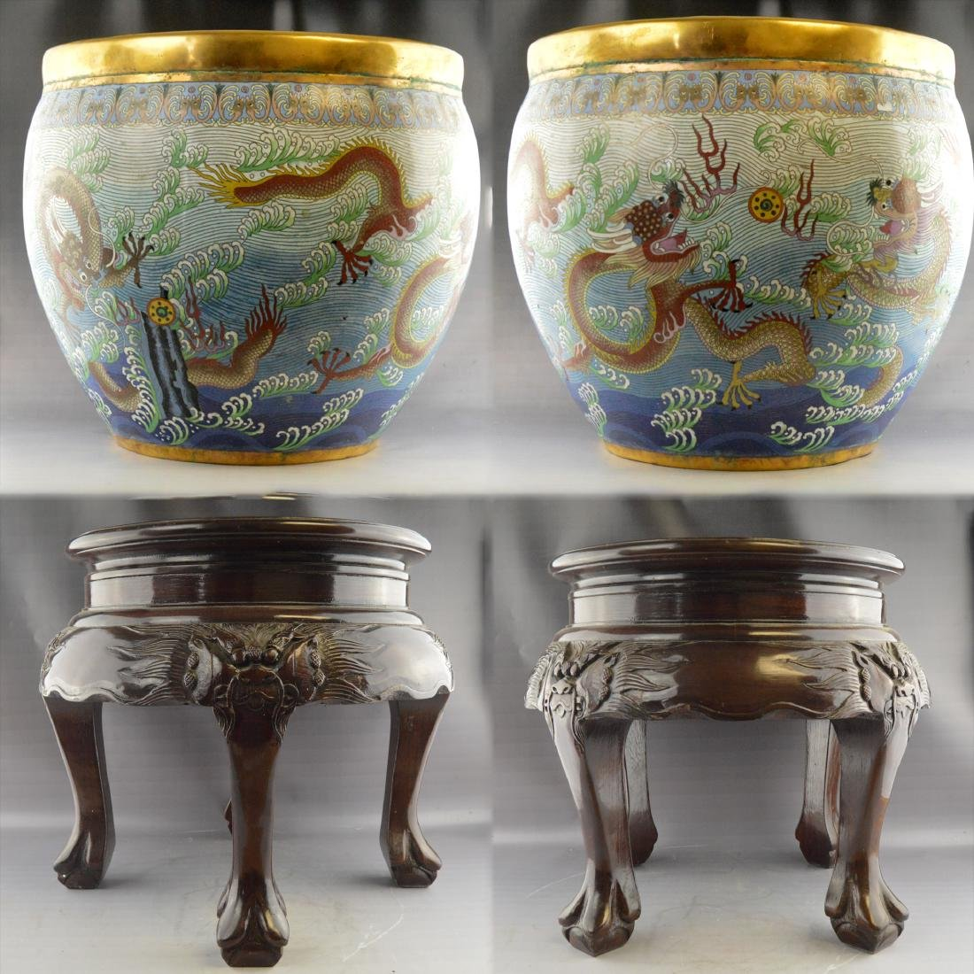 Nine-Dragon Cloisonne Jar Pair