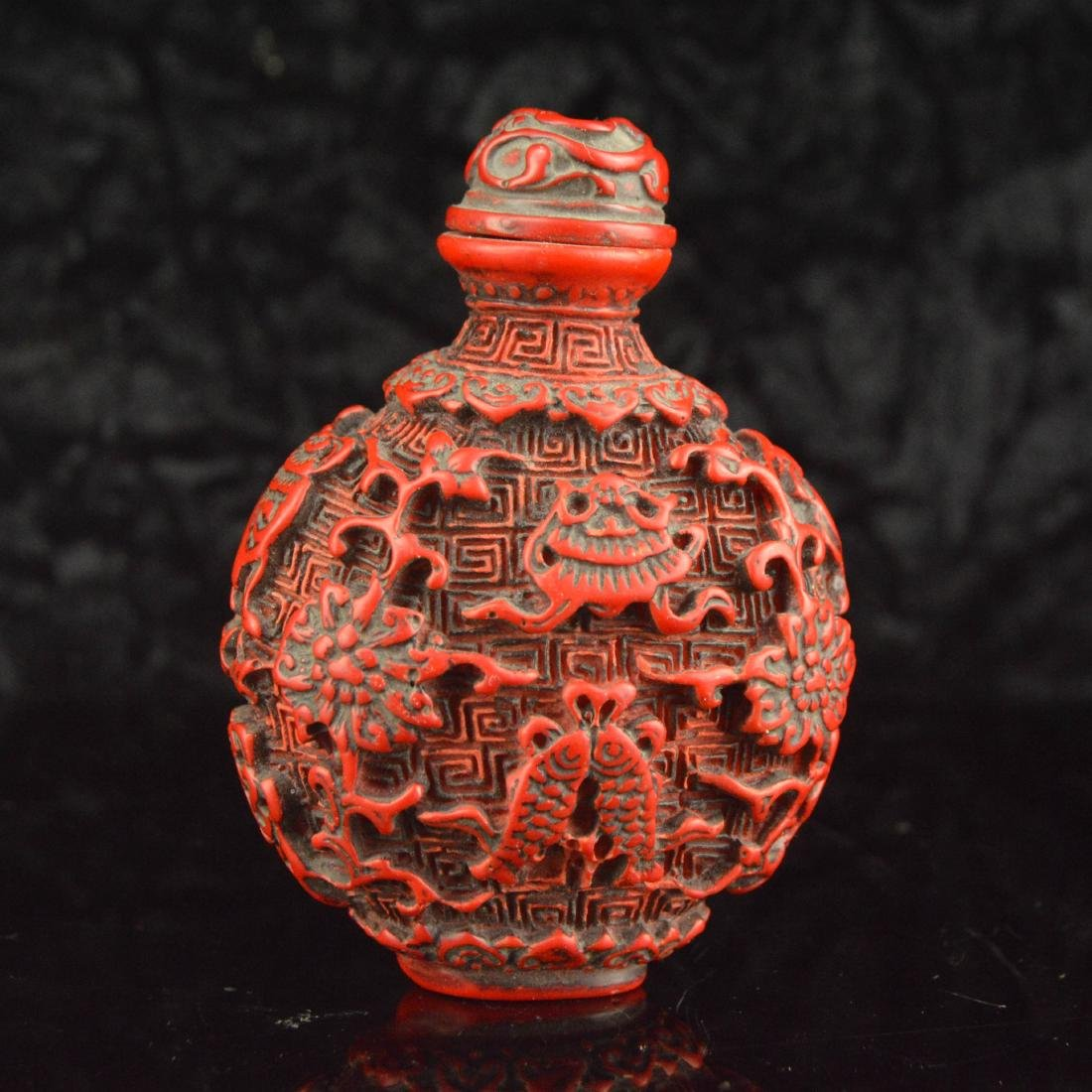 Lacquer Carved Snuff Bottle - 2