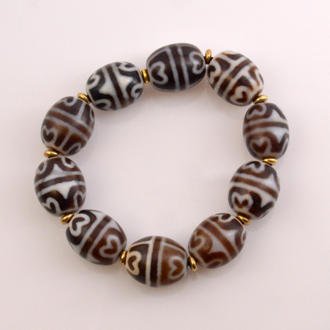Lotus Dzi Bead Bracelet