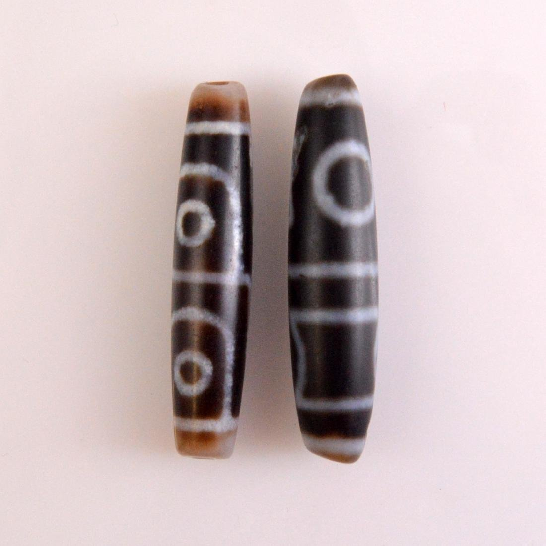 Four Eyed Dzi Bead Pair