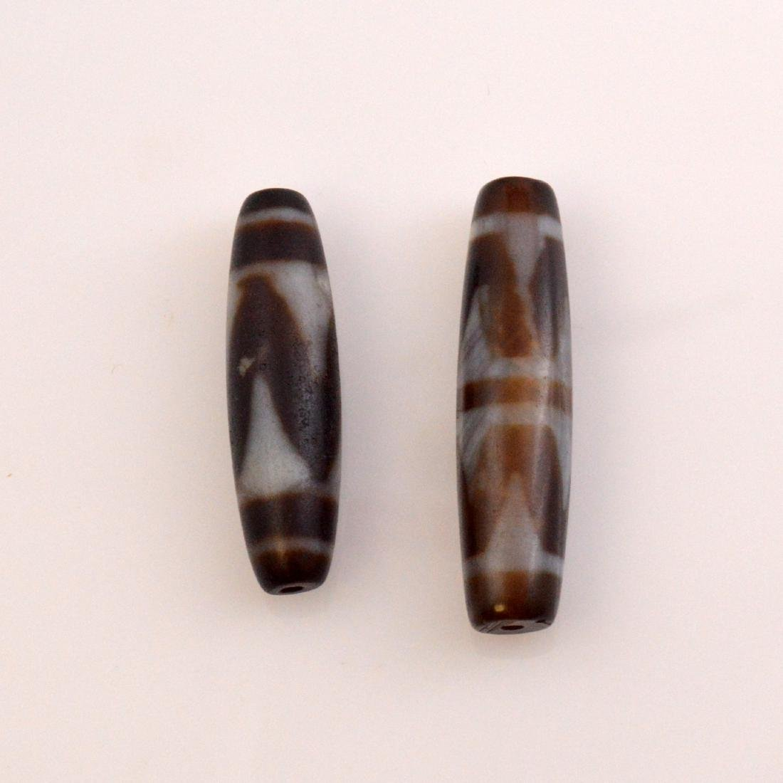 Tiger Tooth Dzi Bead Pair