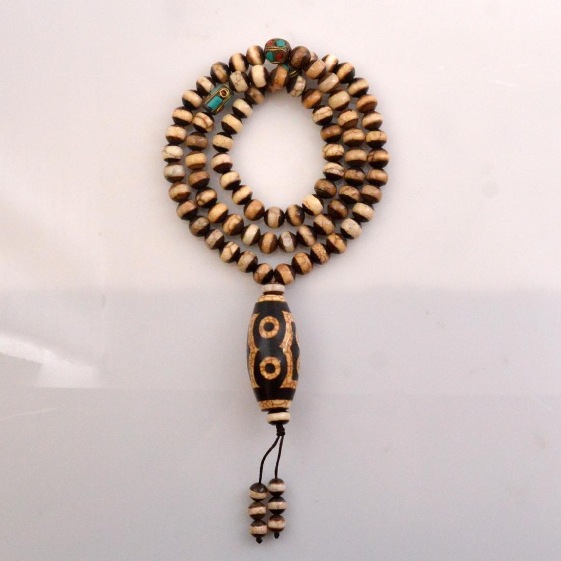 Seven-Eyed Dzi Bead Necklace