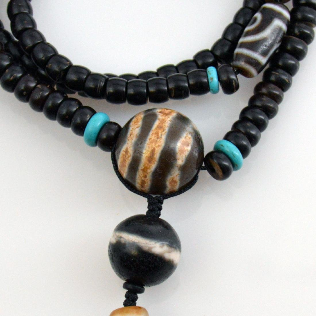 Twelve-Eyed Dzi Bead Pendant Necklace - 3