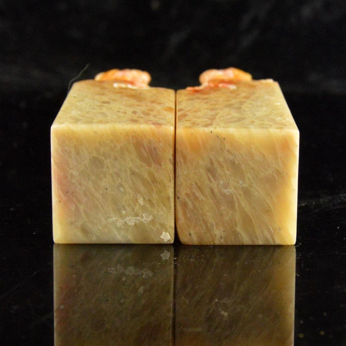 Soapstone Lion Seal Stamp Pair - 5