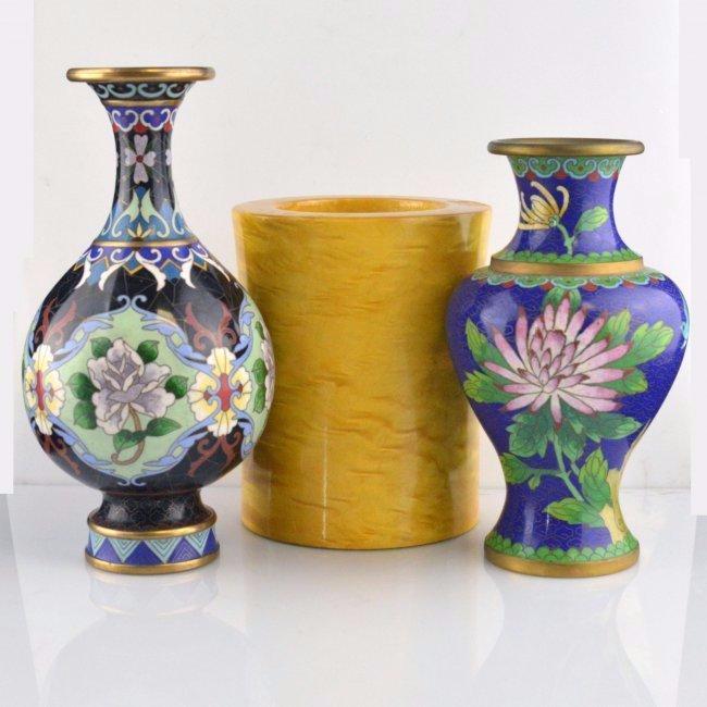 Penholder & Cloisonne Vase Pair