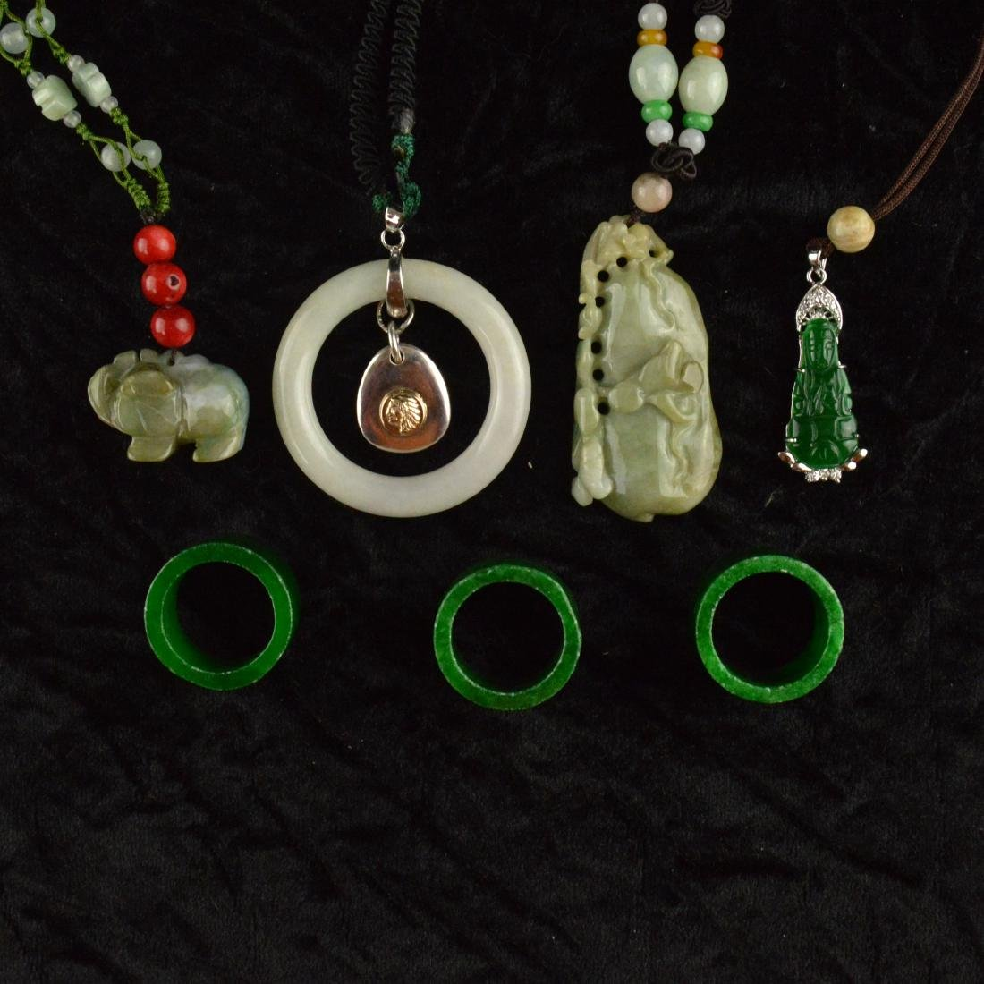Jade Carved Ring & Pendant Necklace Set