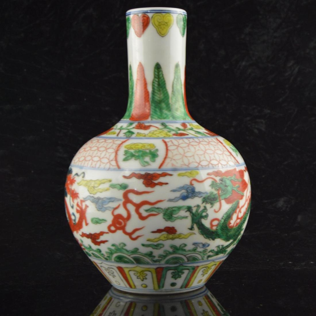 Five Color Twin Dragon Vase - 2