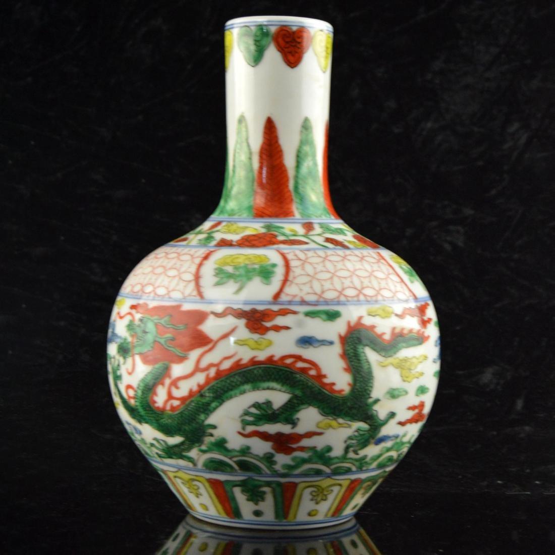 Five Color Twin Dragon Vase - 3