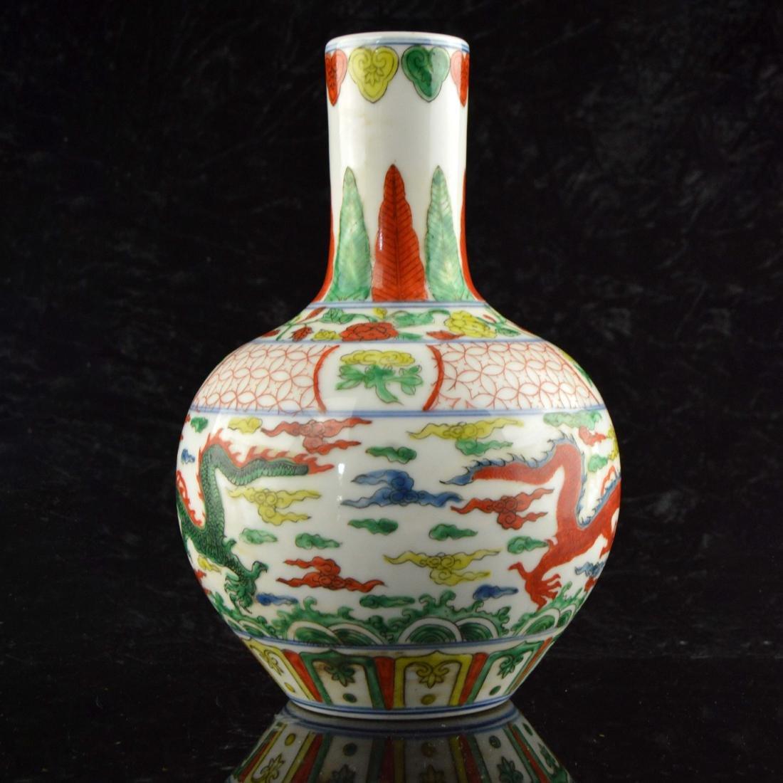 Five Color Twin Dragon Vase - 4
