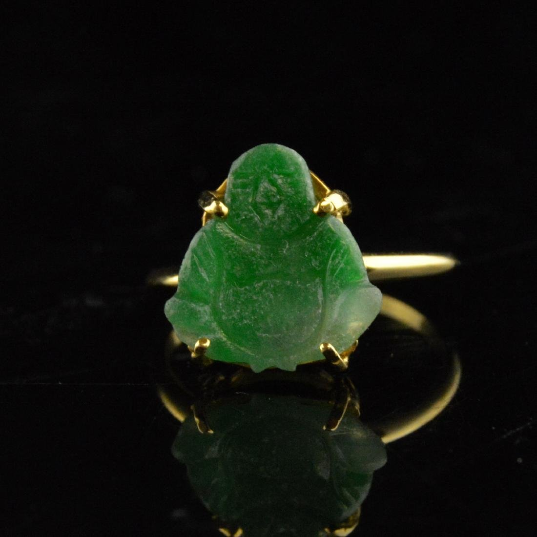 14K Gold Jadeite Ring - 2