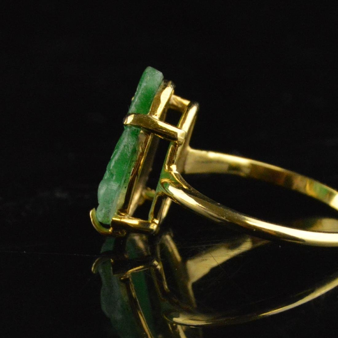 14K Gold Jadeite Ring - 3